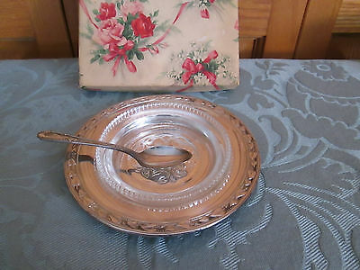 Vintage Silver Plated Caviar Dish/Glass Liner/Spoon   Wm A Rogers