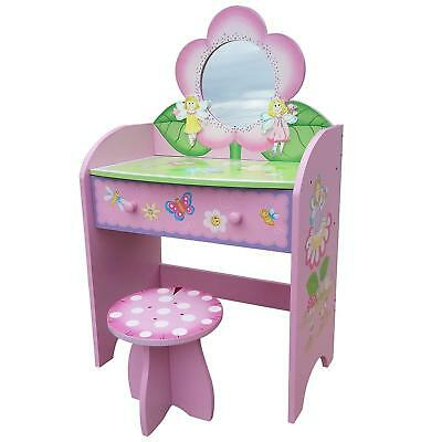 Dressing Table Kids Toys House Fairy Mirror Desk Stool Make Up Set Girls Pink