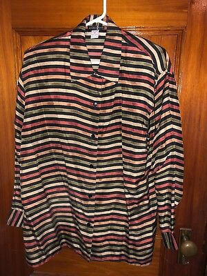 Vintage Women's Silk Blouse Top Shirt 100% silk Encounter Medium Striped Brown