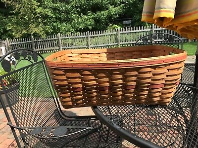 Longaberger 1988 Holiday Hostess Small Laundry Basket~Red / Green Weave
