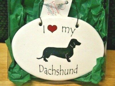 I (Heart) My Dachshund Ceramic Christmas Ornament   New In Box