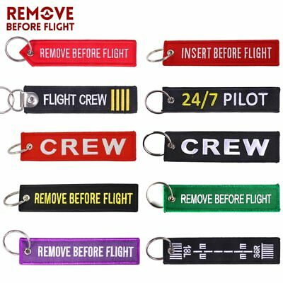 Remove Before Flight OEM Key Chains Berloques Red Embroidery Highlight Key Fobs