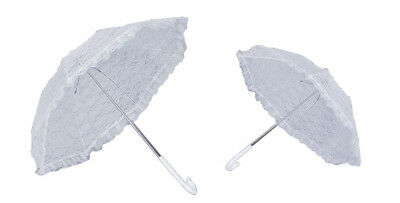 "34"" White Lace Ruffled Victorian Parasol Frilly Small Costume Umbrella"