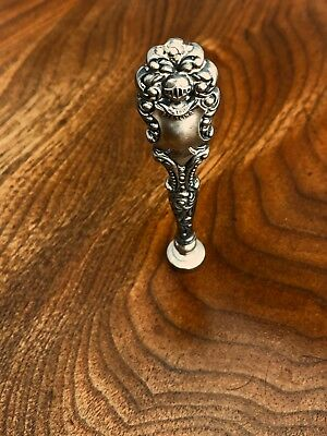- American Sterling Silver Handled Wax Seal Medieval Knight Pattern: No Monogram