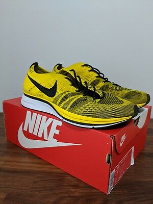 fdb22d892816 Nike Flyknit Trainer Bright Citron Yellow Black White Sz 10.5  Ah8396 700
