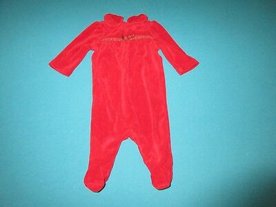 RALPH LAUREN Girls Red Velour Christmas Holiday One Piece 3 Months 3M