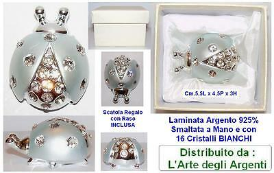 LADYBUG LARGE Cm.5,5 BLUE Silver laminate. 925%+16 CRYSTALS and box BT37