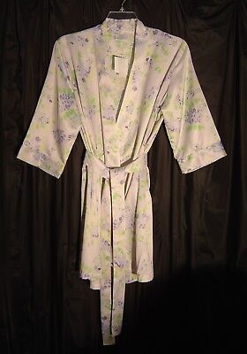 Cabernet Short Soft Silky Satin Lilac Floral 3 4 Sleeve Belted Wrap Robe~L b24428244