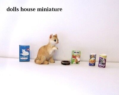 Pet Cat  And Accessories  1 12/th Scale  Dolls House Miniature