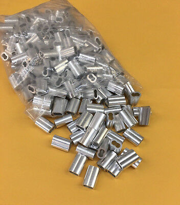 """100 - 3/16"""" Aluminum Cable Crimps/Sleeves Duplex Sleeve Cable Clamp"""