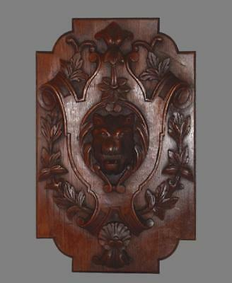 French Antique Neo Gothic Hand Carved Wood Lion Coat of Arms Wall Panel 2