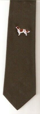 Irish Red and White Embroidered Setter Tie Dark Green New Never Worn