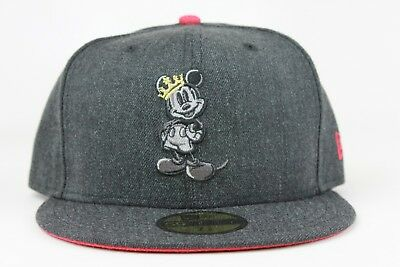 Disney Mickey Mouse King Heather Graphite Red New Era 59Fifty Fitted Hat Cap  DS 18009b46c7d9