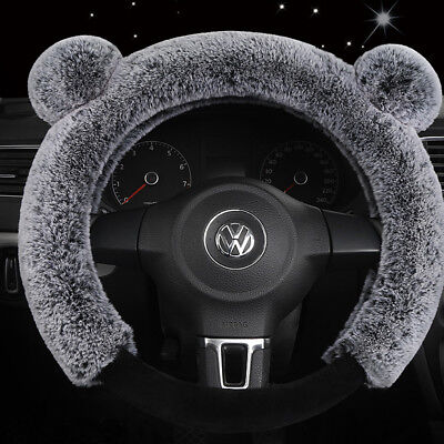 "15""/38cm Car Steering Wheel Cover Warm Plush Cover Panda Style Grey for Winter"