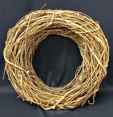 "Natural Double Grapevine Wreath 18"" Plain Primitive for Crafts"