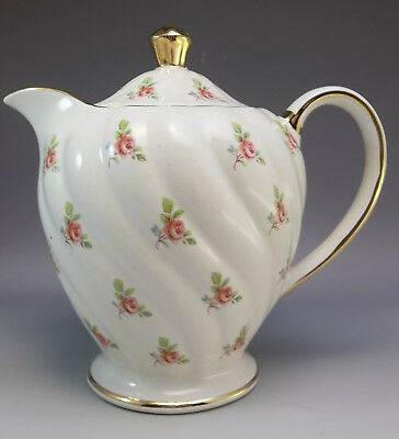 Vintage Sadler Tea Pot Pink Roses Porcelain English Pitcher Swirl Small Coffee
