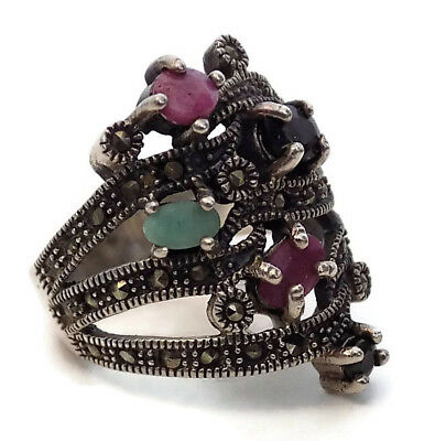 """BYZANTINE SILVER STYLE RING #6 with FIVE PRECIOUS STONES 11/16"""" OPENING"""