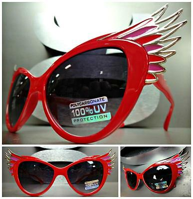 UNIQUE VINTAGE EXAGGERATED CAT EYE with WINGS Style SUN GLASSES Red & Gold Frame
