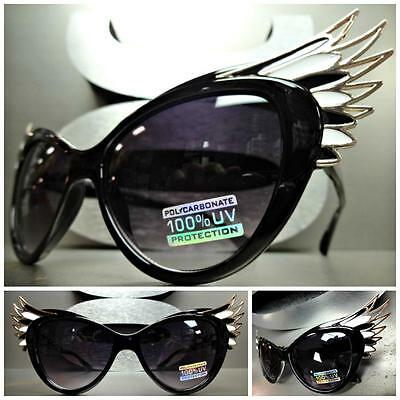 UNIQUE VINTAGE EXAGGERATED CAT EYE & WINGS Style SUN GLASSES Black & Gold Frame