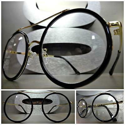 b8facbc48a VINTAGE 60 s RETRO Style Clear Lens EYE GLASSES Round Black   Gold Fashion  Frame