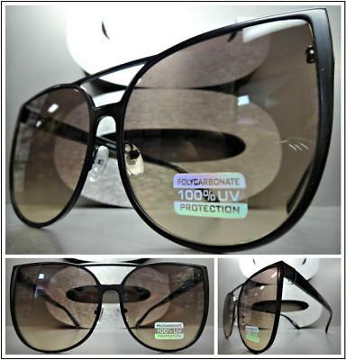 OVERSIZED EXAGGERATED Vintage CAT EYE Style SUN GLASSES Black Frame Ombre Lens
