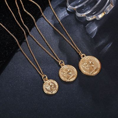Vintage Necklace Carved Coin Women Fashion Gold Color Medallion Pendant Jewelry