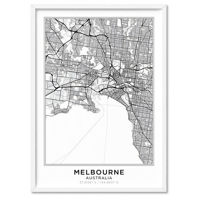 SCANDI SIMPLE CITY MAP / Melbourne - Wall Art Print Poster Canvas