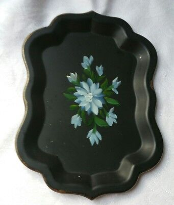 Vintage Small Tray Hand Painted Marked Jerywil Eden, Ny Blue Flowers #2