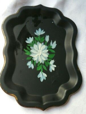 Vintage Small Tray Hand Painted Marked Jerywil Eden, Ny Blue Flowers #1