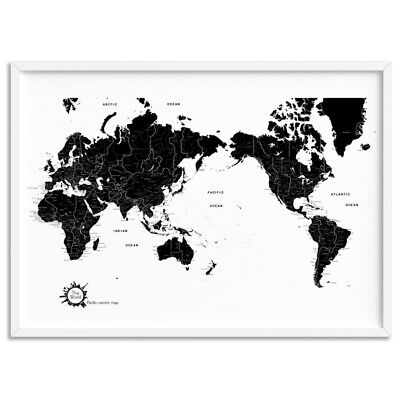WORLD MAP Black & White - Simple Scandi - Wall Art Print Poster Canvas