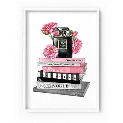 CHANEL Noir Fashion Books Stack & Perfume Bottle - Art Print Poster Canvas