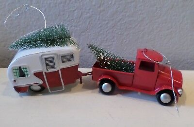 2 pc vintage red truck trailer christmas trees snow frost ornaments home decor