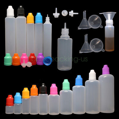 3ml-120ml LDPE Empty Squeeze Dropper Eye Liquid Juice Bottle with Plastic Funnel
