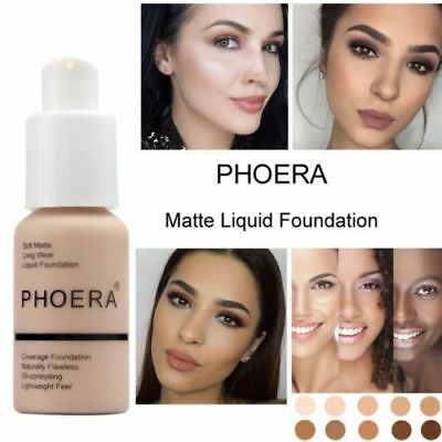 1Pc PHOERA 10 Colors Matte Concealer Liquid Foundation Full Coverage Longlasting