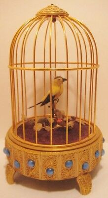 Old French or German Automaton Wind Up Brass Jeweled Birdcage w/ Moving Bird