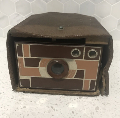 Vintage Retro KODAK Brown Box Brownie Camera Photography Original Leather Case