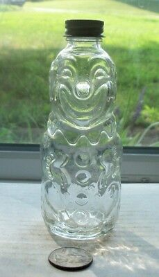 Nice Art Glass Vintage Clown Bottle With Working Lid