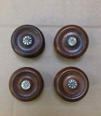 Set of 4 Antique Victorian Walnut and Mother of Pearl Turned Wooden Knobs