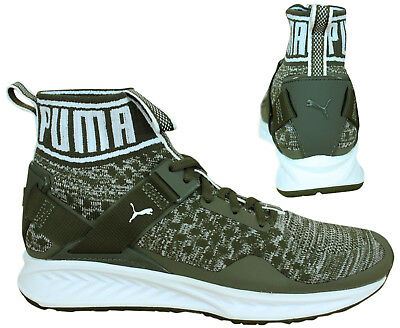 a1aef006ed4 Puma Ignite evoKNIT Lace Up Olive Green Textile Mens Trainers 189697 14 D10