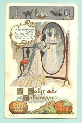 A Jolly Halloween Bat Black Cat JOL Woman with Ghost in Mirror Very Rough 1909