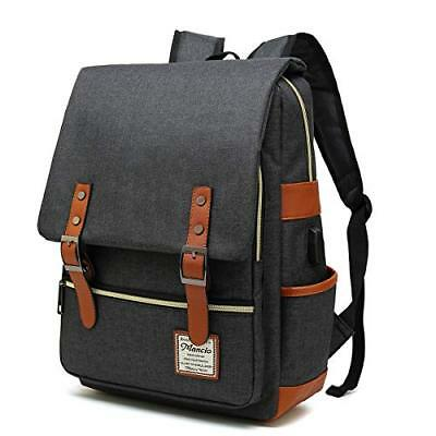 Mancio Slim Laptop Backpack with USB Charging Port,Vintage Tear Resistant Bag up