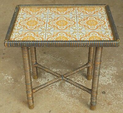 Vintage Retro Woven Wicker Bamboo Cane Coffee Table With Glass Top