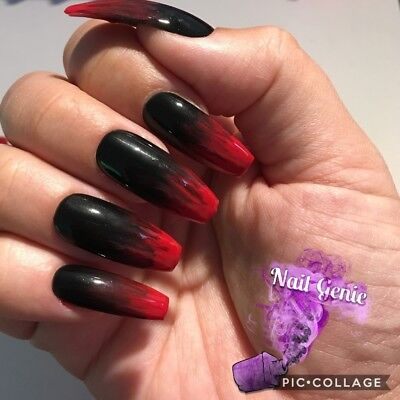 *HALLOWEEN Hand Painted Press On Nails Red and Black Gel Polish Long Coffin*