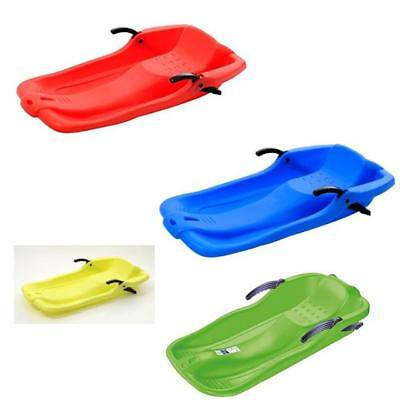 Snow Sledge Sleigh With Brakes and Pull Cord Assorted Colours