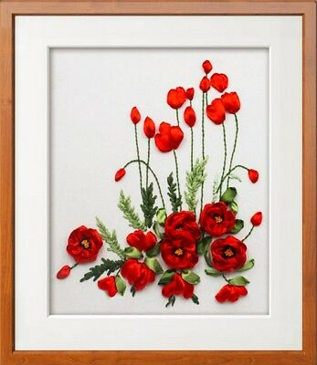 Red Poppies Ribbon Embroidery Kit