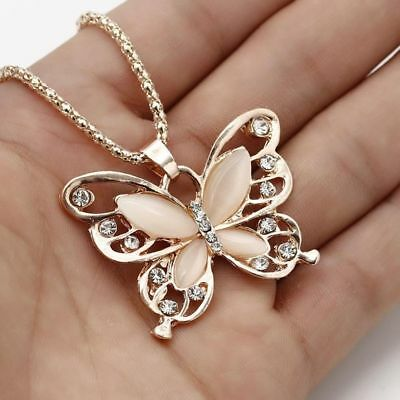 Women Necklace Ladies Choker Rose Gold Opal Butterfly Pendant Sweater Link Chain