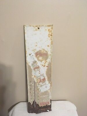 """vintage Golden cola thermometer 27"""" x 7"""" embossed"""