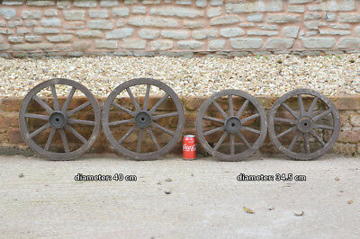 set of 4 vintage old wooden cart carriage wagon wheels wheel - 34.5 cm / 40 cm