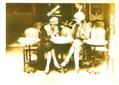 Two Women Dining Drinking Cafe Telephone Sign Postcard Reproduction VAR8