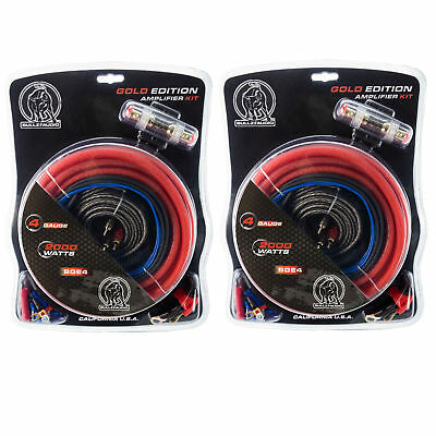 Bullz Audio 4 Gauge 2000W Car Audio Amplifier Power Wiring Kit, Red (2 Pack)